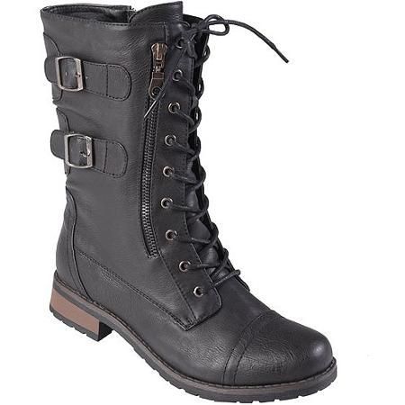 Womens Lace-up Buckle Detail Boots