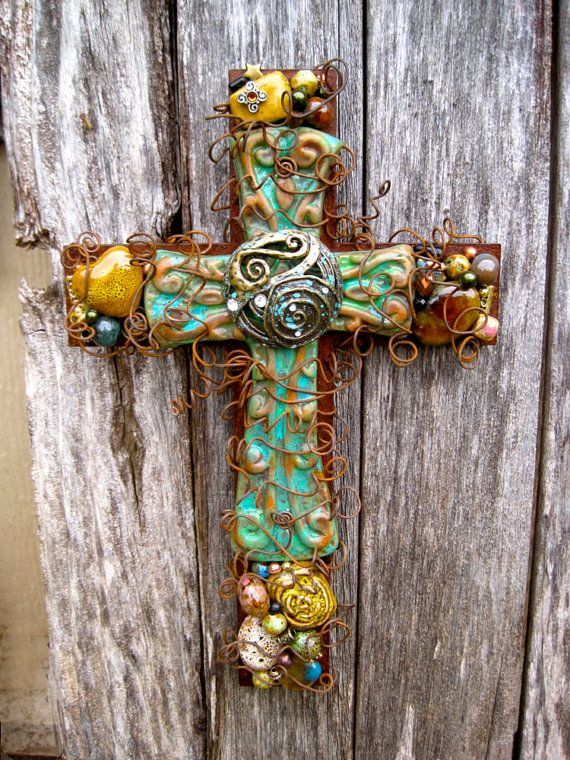Rusty Iron Wall Cross  Ceramic Cross  by TotallyCrosses on Etsy