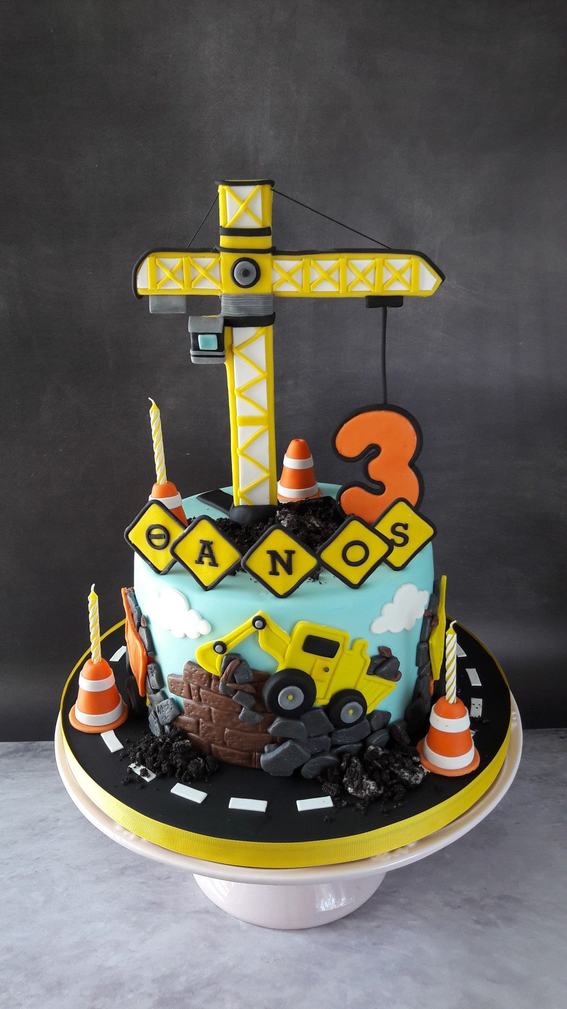 Swell Construction Site Cake With A Big Crane For Little Thanos 3Rd Personalised Birthday Cards Beptaeletsinfo