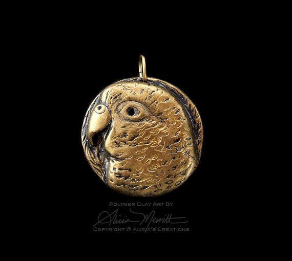 Unique Gold Conure Medallion Clay Bird Art by AliciasCreations