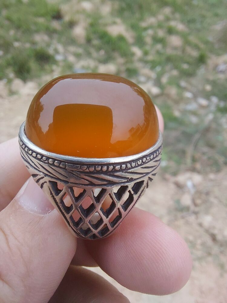 RED Yemeni Aqeeq handmade Sterling Silver Ring SHARF u SHAMS Agate Akik Shia Sufi Men Ring All Sizes