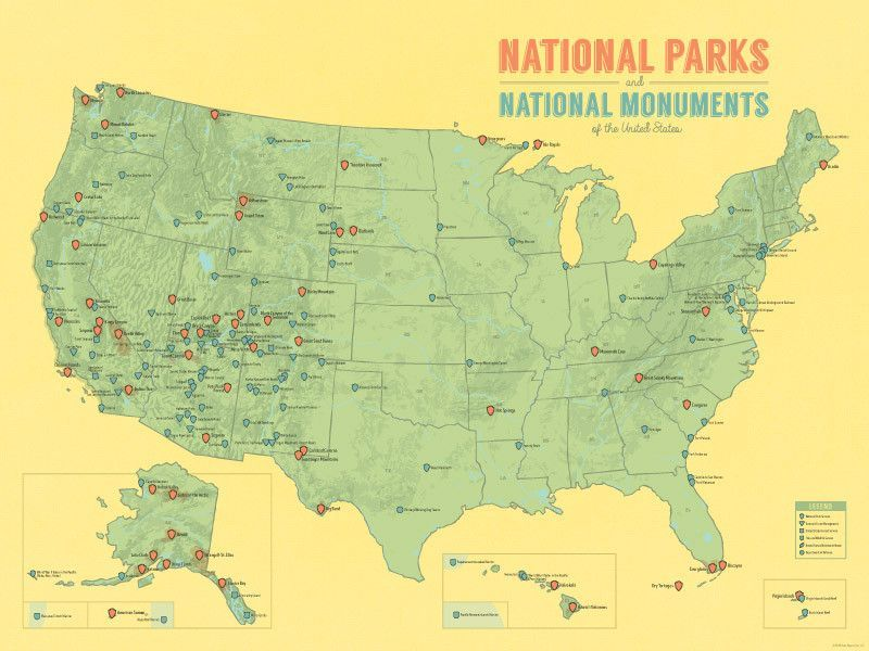National Park System Units Map X Poster Products Parks - Park and forest systems us map