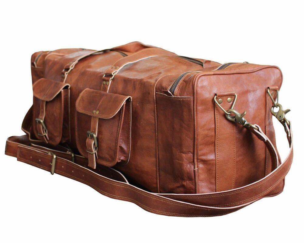 "Bag Leather Duffle Travel Men Luggage Gym Vintage Genuine Weekend Overnight New/"""