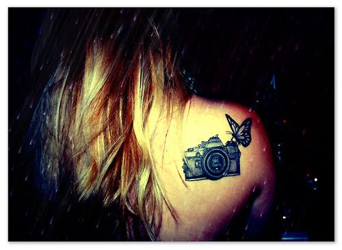 a021fe5ba3704 Black Ink Camera With Butterfly Tattoo On Girl Right Back Shoulder ...