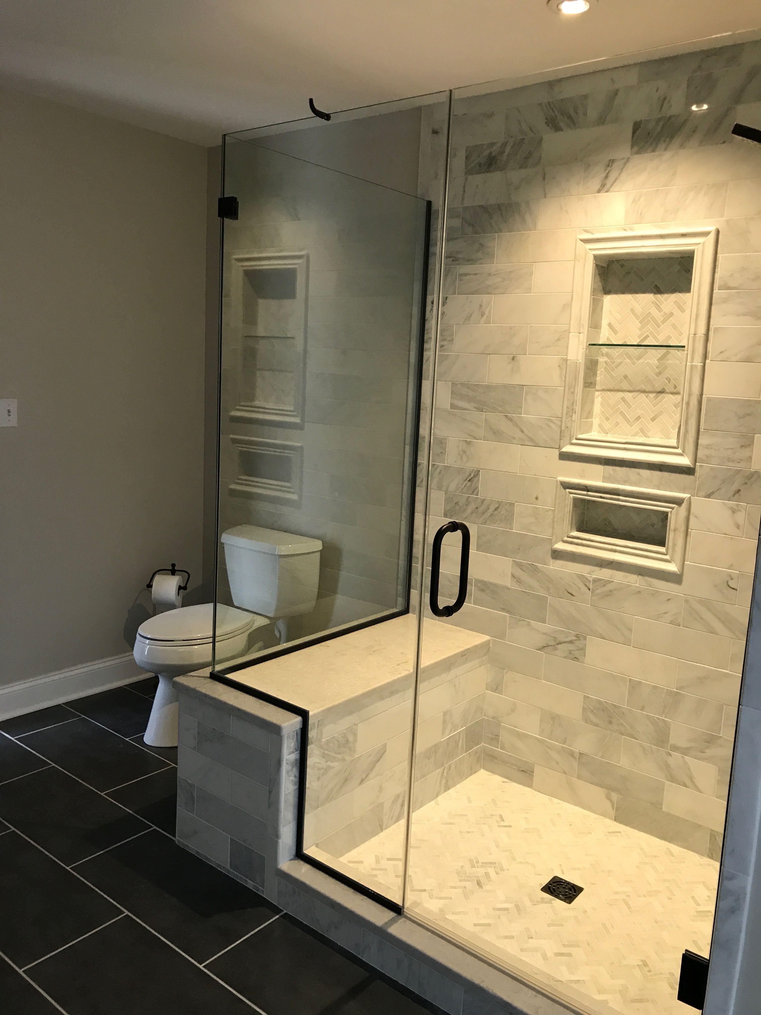 Hampton Carrera Marble Bathrooms Remodel Farmhouse Shower Bathroom Interior