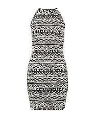Robe Moulante Ado Noire Sans Manches à Imprimé Aztèque New Look