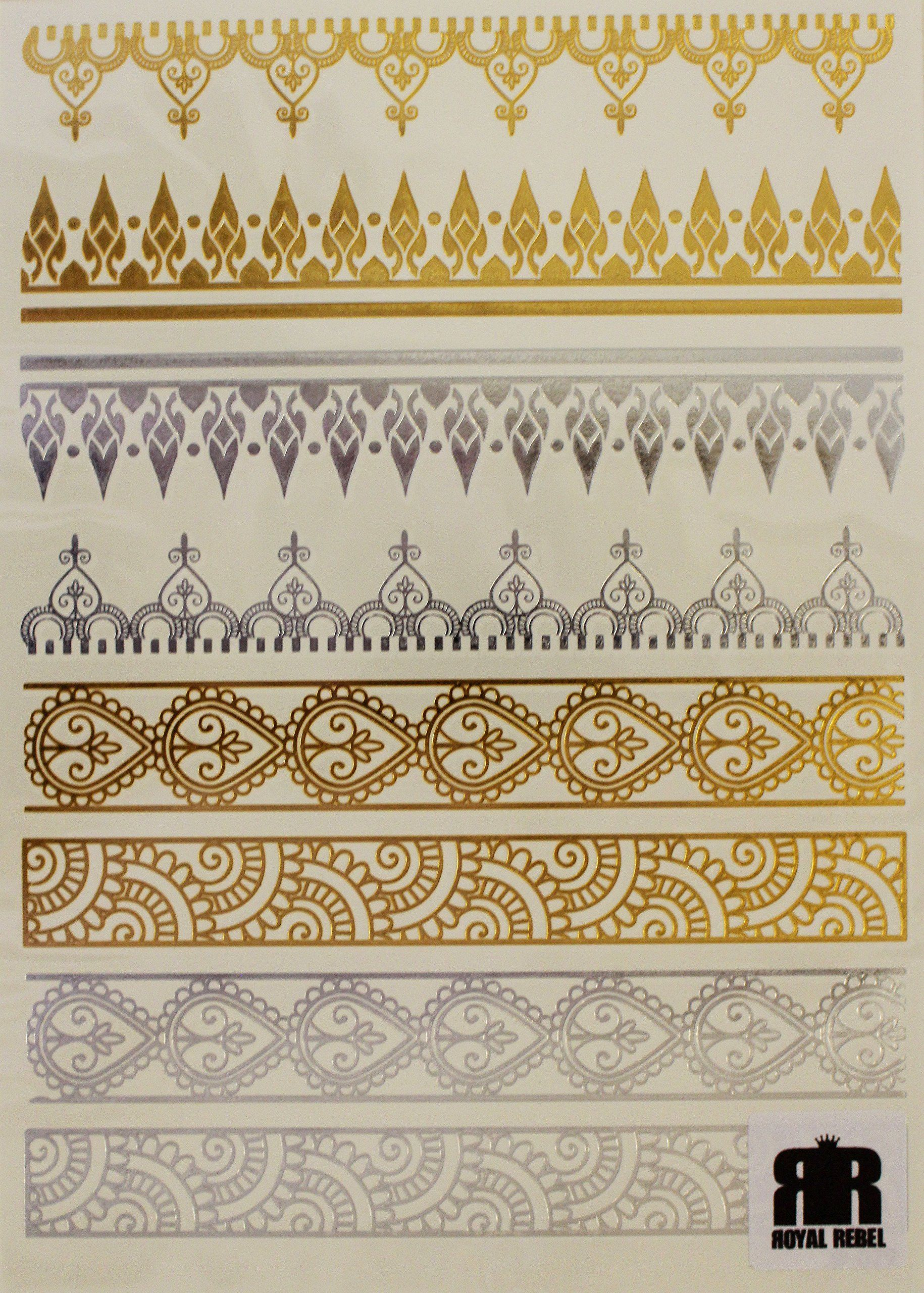 Beautiful Metallic Temporary Tattoo Bracelets (Various Designs) by Royal Rebel (Henna Style Bracelet (2))