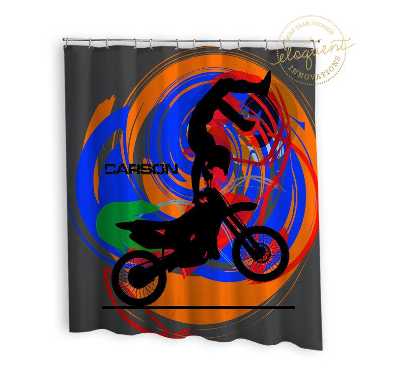 Dirt Bike Shower Curtain - Motocross, Grey, Blue, Orange - Dirt ...
