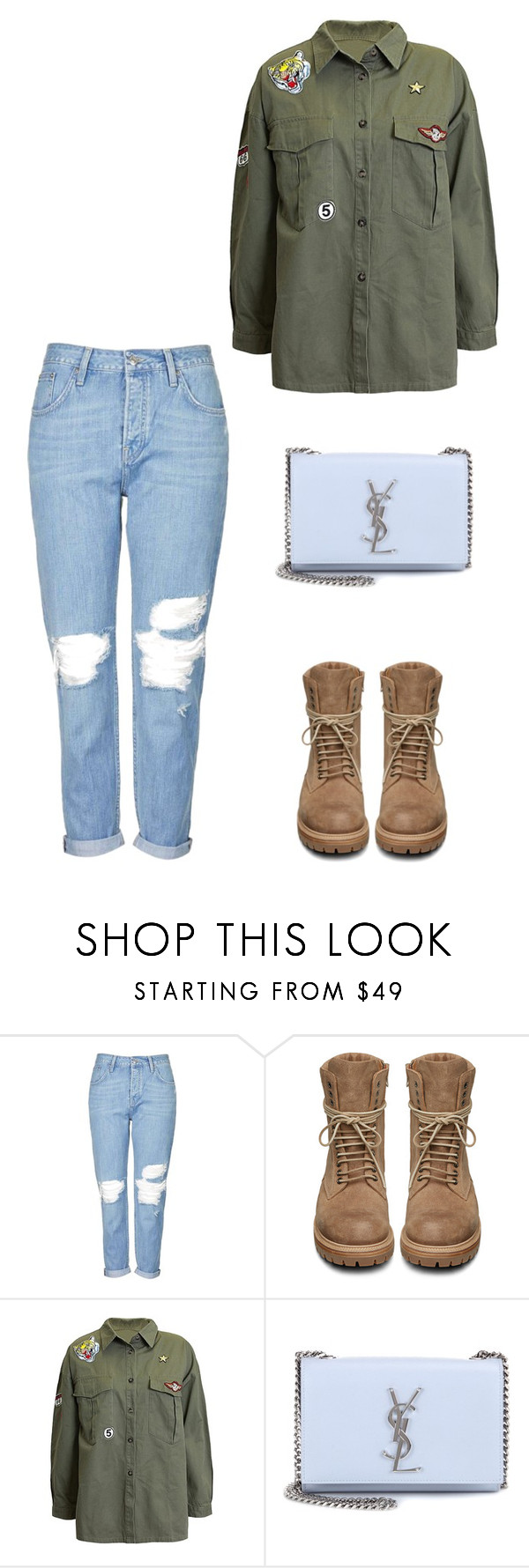 """""""Untitled #296"""" by doda-laban on Polyvore featuring Topshop, Rick Owens, Sans Souci and Yves Saint Laurent"""