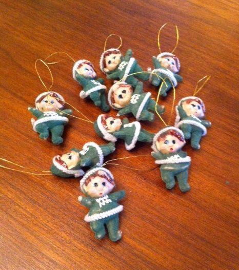 10 Kitschy Vintage Flocked Christmas Elves! Only $16 for all 10 at Chelsea Morning!  https://www.etsy.com/listing/202358655/vintage-flocked-christmas-elves-set-of