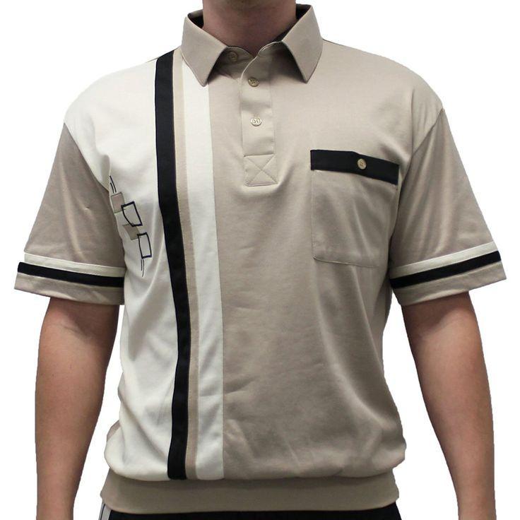 Banded bottom knit man shirt short sleeve