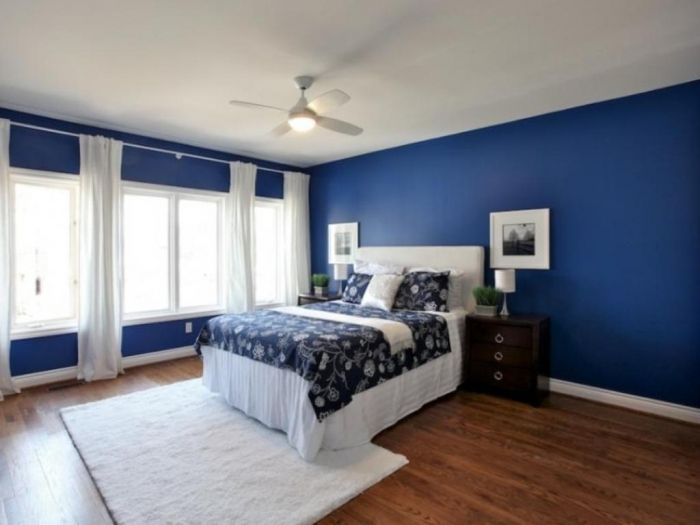 Dark Blue Master Bedroom blue bedroom paint color ideas | modern bedroom wallpaper