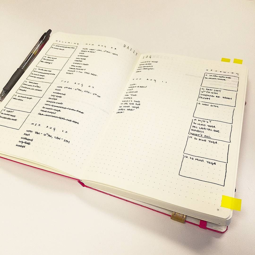 """Current Daily Log, with """"Upcoming"""" next 6 days. #bulletjournal #minimalistbujo"""