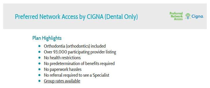 Pna By Cigna Dental Insurance Alternative Dental Only