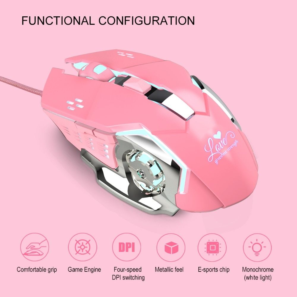 S500 Adjustable 4800DPI 6Button LED Optical USB Wired Gaming Mouse for Pro Gamer