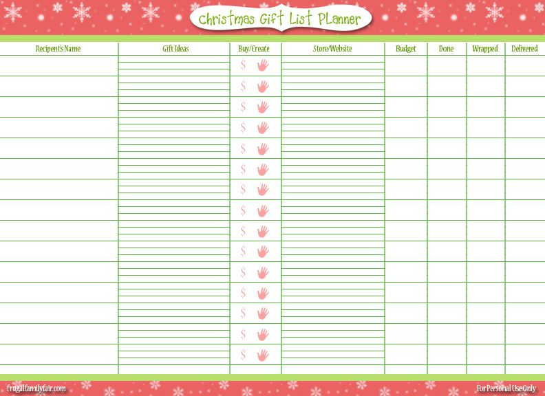 christmas gift planner template - Google Search Organized Life - Kids Christmas List Template