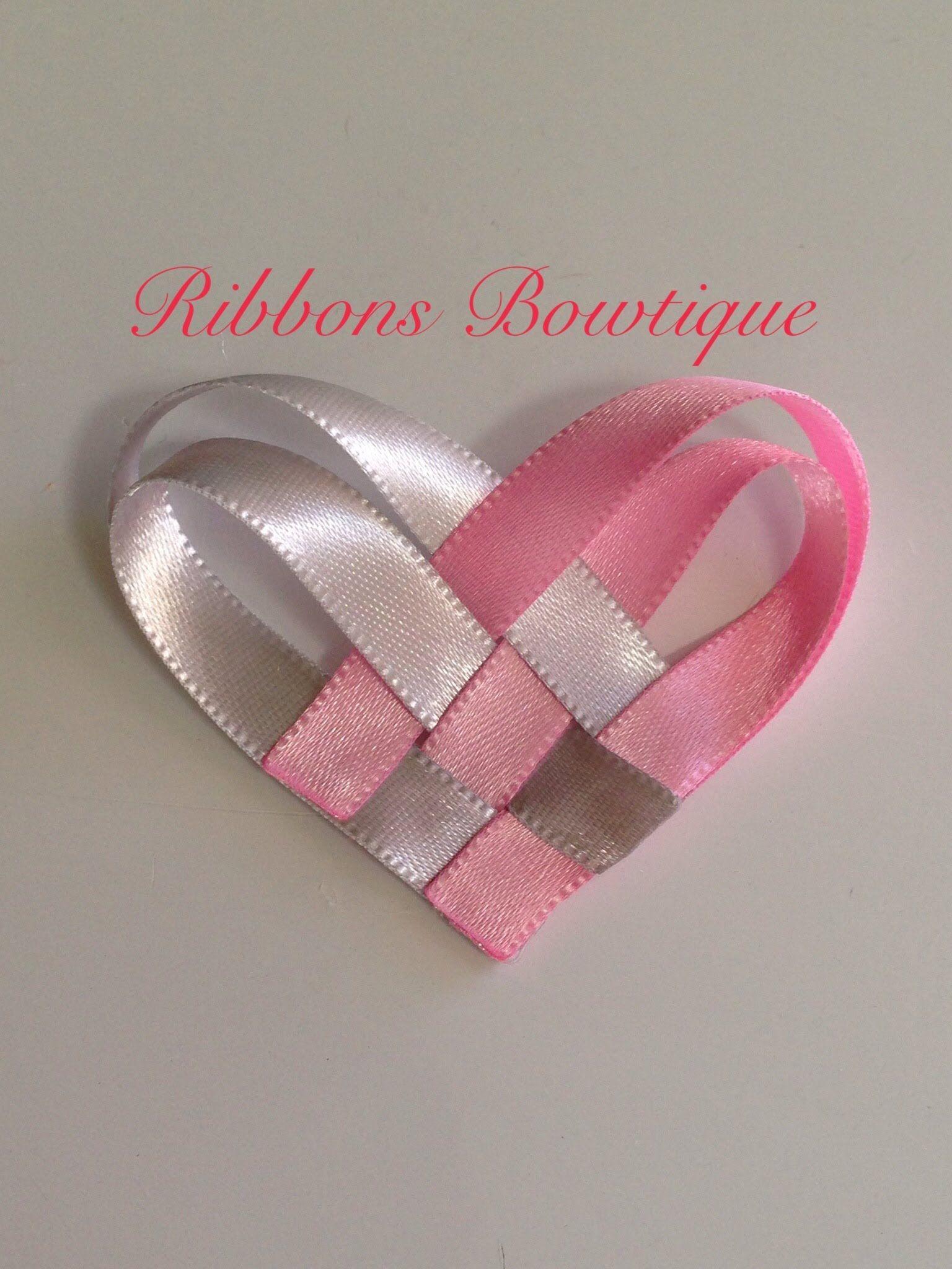 Pink woven heart hair clip