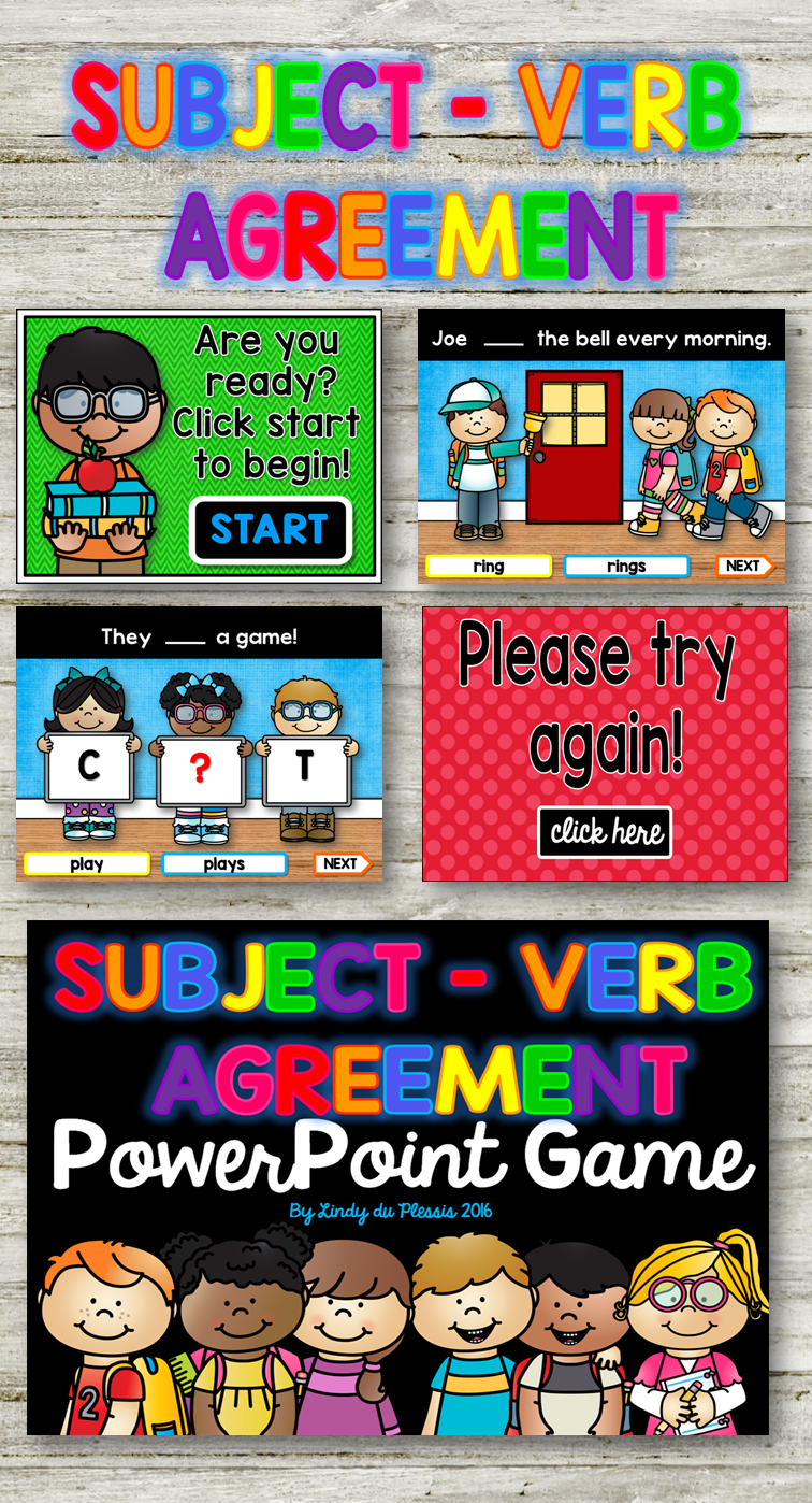 Subject Verb Agreement Powerpoint Game Word Work Pinterest