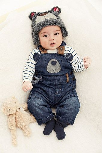 b32ff1666 Next Bear Denim Dungarees | Twins | Baby outfits newborn, Cute baby ...