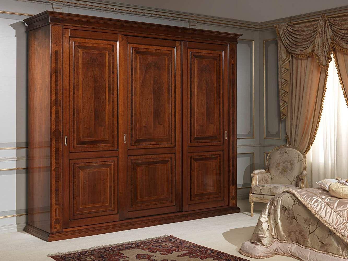 Th century french bedroom three door wardrobe with inlays