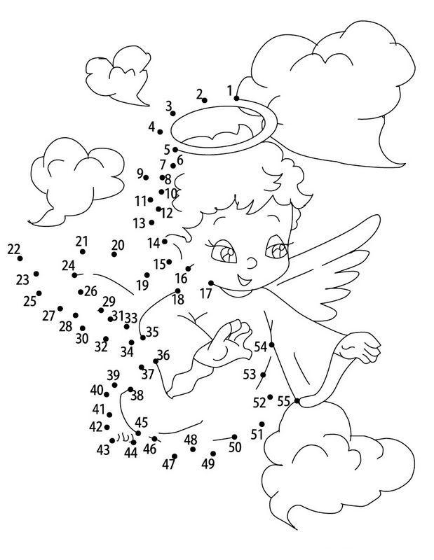 Un Ange Dans Les Nuages Point A Point Imprimables Coloriage Enfant