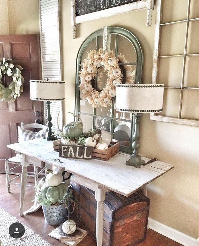 Fall Farmhouse Entryway Decor! IG @bless_this_nest