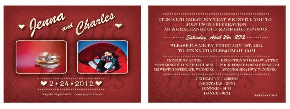 Custom wedding invitations From Winnipeg Canada EMPIRE INVITES – Custom Wedding Invitations Canada
