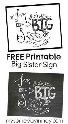 Printable Big Sister Signs - 3d House Drawing •
