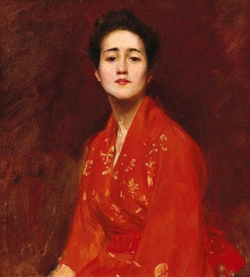 Japonisme. William Merritt Chase, Study of a Girl in a Japanese Dress