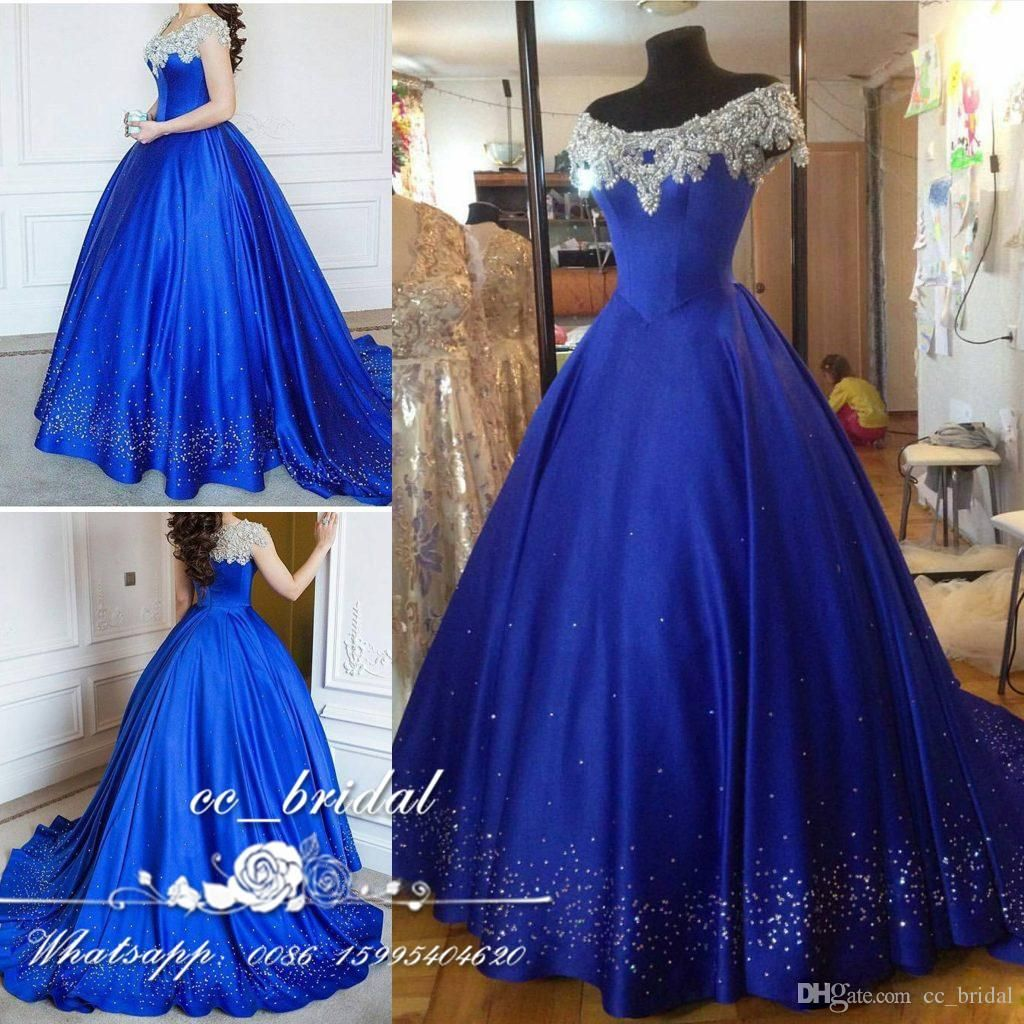 00fb1073f664 Cinderella Ball Gown Quinceanera Dresses Debutante Crystal 2017 New Puffy  Prom Gowns Beads Royal Blue Masquerade Pageant Vestidos De 15 Anos  Quinceanera ...
