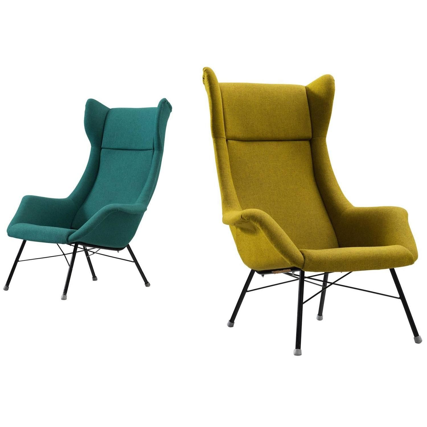 Pair Of Reupholstered Midcentury High Back Chairs