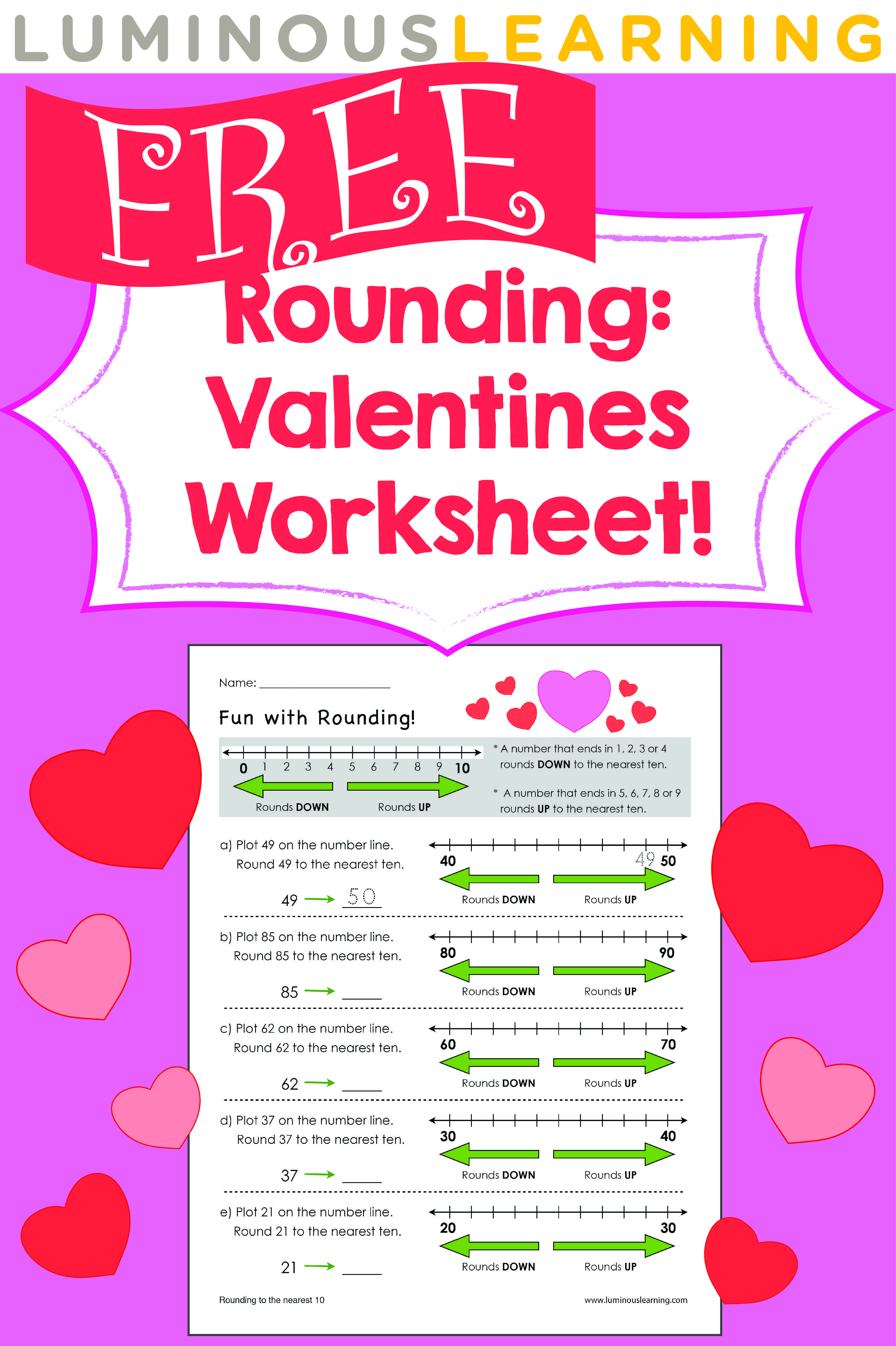 Luminous Learning Free Valentines Worksheet Rounding