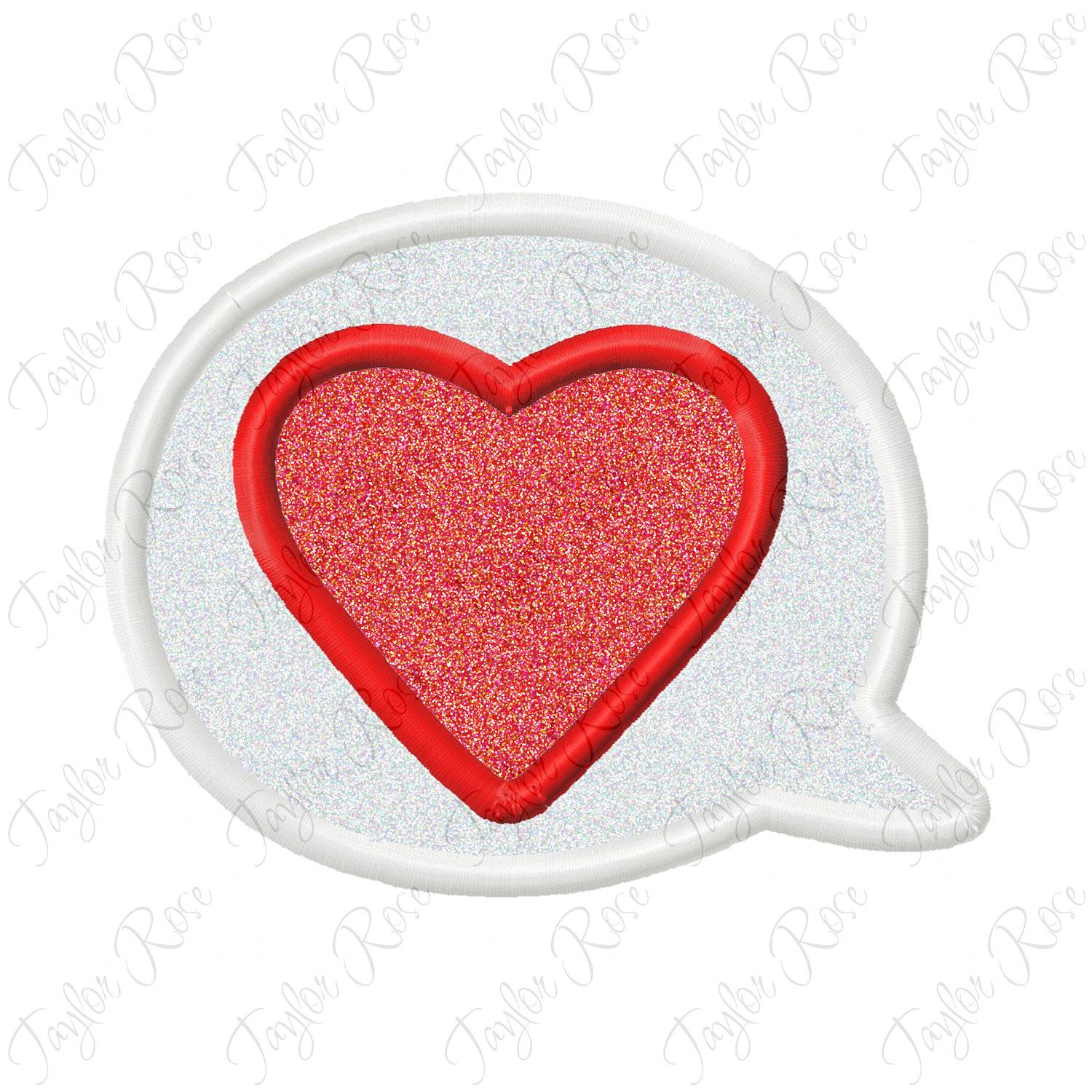 Word Bubble Heart Applique Machine Embroidery Design 4x4 5x7 6x10 love INSTANT DOWNLOAD by TaylorRoseDesigns on Etsy
