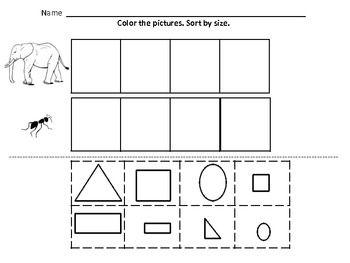 kindergarten math sorting by color by size by shape. Black Bedroom Furniture Sets. Home Design Ideas