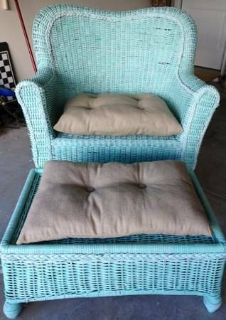 Refinished Oversized Wicker Chair And Ottoman With Cushions Great For The Verandah