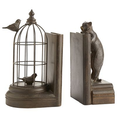 Cat and birdcage bookend set, Pier One