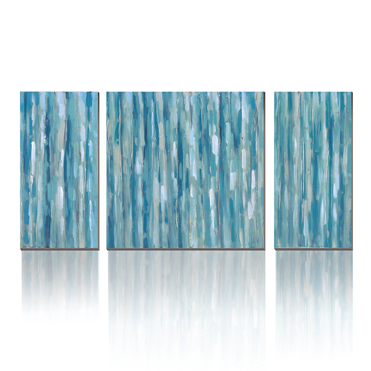 Wesiator 3 Part Blue Stripe Abstract Modern Prints On Canvas Artwork Wall Art For Any Room Scheme Ready To Han 3 Panel Wall Art Stripe Wall Art Panel Wall Art