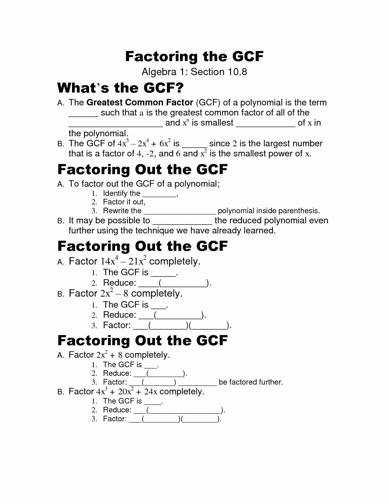 Factoring Greatest Common Factor Worksheet Luxury 16 Best
