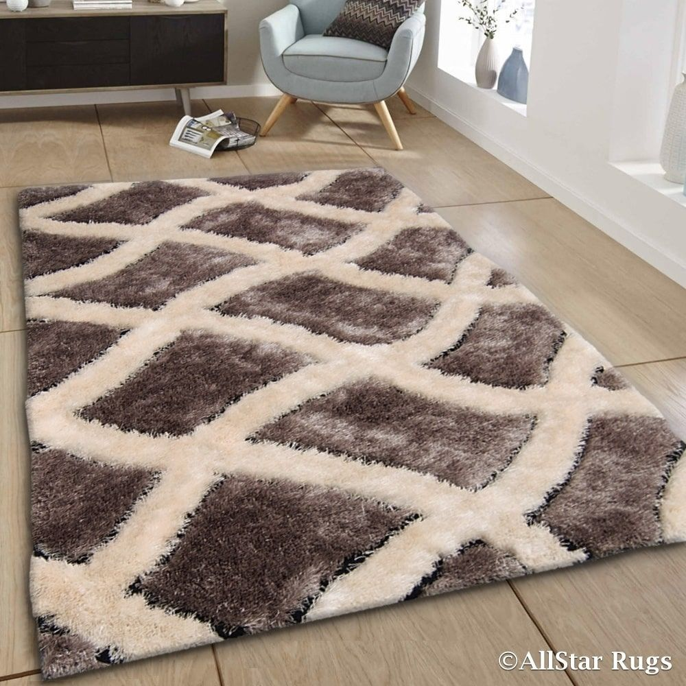Allstar Anium Off White Trellis Thick High Pile Rug 7 11 X 10 5 Grey Size 8 Polyester Plaid