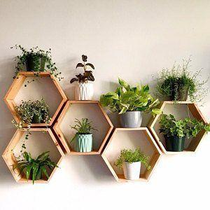 Photo of Set of 6 Medium 5.5″ Deep Hexagon Shelves, Honeycomb Shelves, Floating Shelves, Geometric Shelves