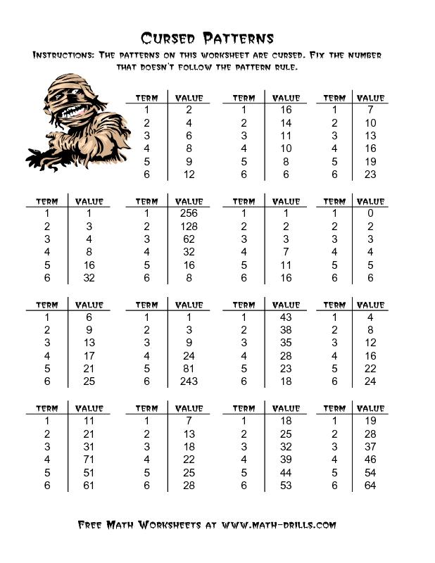 Halloween Math Worksheet -- Cursed Number Patterns (A) | math ...