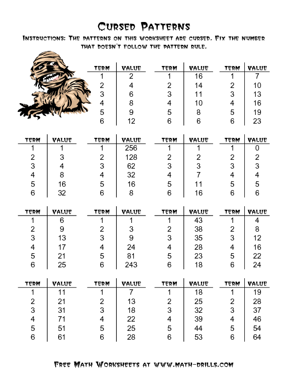 Halloween Math Worksheet -- Cursed Number Patterns (A) | math ...