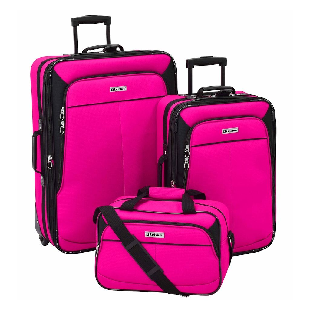 6b342b7bf Leisure Voyager 3-Piece Wheeled Luggage Set, Pink | Products in 2019 ...