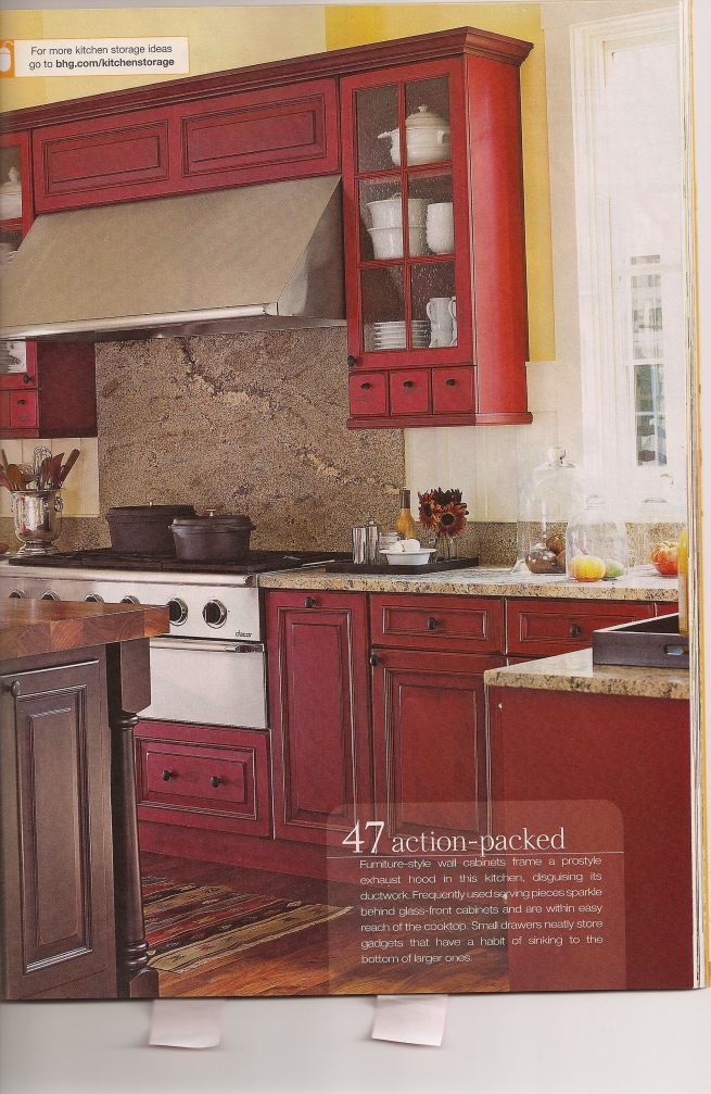 Red Cabinets In The Kitchen With White And Yellow Walls Haven T Decided On The Countertops Yet Beige Kitchen Farmhouse Kitchen Colors Red Kitchen Walls