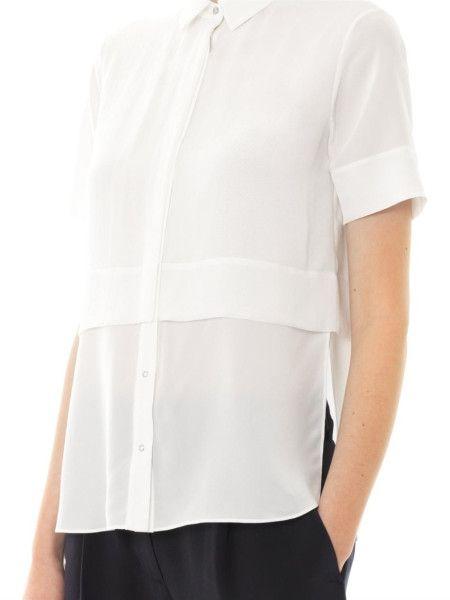 5cf1acfc471fdd 2014 (3) T By Alexander Wang Layered Silk Chiffon Blouse in White
