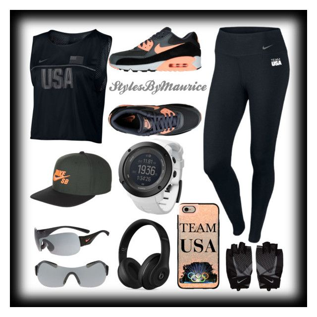 """""""Blacked Out Team USA Fitness Apparel"""" by mauricee-brewer on Polyvore featuring NIKE, Beats by Dr. Dre, Suunto and Casetify"""