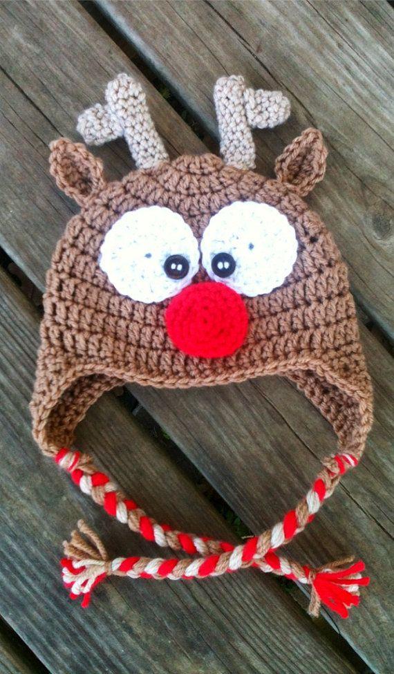 Baby Toddler Boy or Girl Crochet REINDEER Brown by shayahjane, $24.00