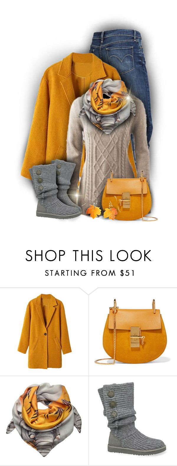 """Gray and Gold Winter Fashion"" by rainbowroad96 ❤ liked on Polyvore featuring Levi's, Chloé, Joanna Allsop and UGG Australia"