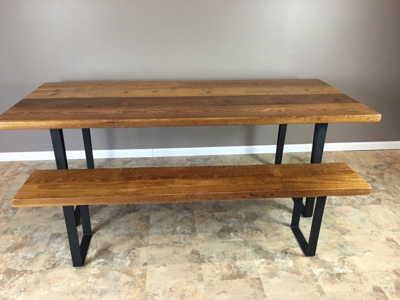 Modern Industrial Reclaimed Barn Wood Dining Table And Bench Combo Fabricated