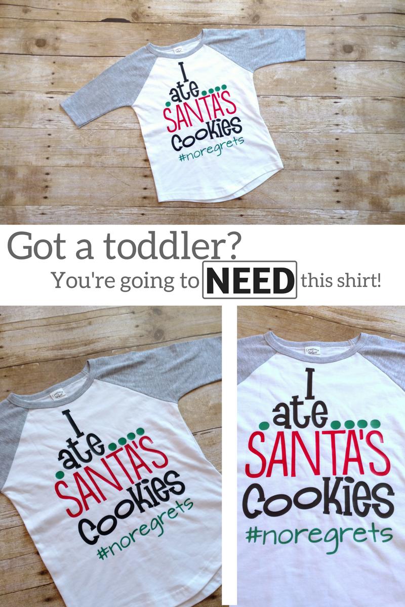 Christmas Shirts for Kids, Funny Toddler Shirt, I ate Santas Cookies ...